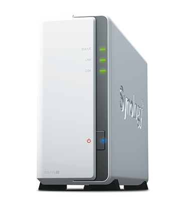 Synology DS119j DC 800GhzCPU/256Mb/upto 1HDDs/SATA(3,5'')/2xUSB/1GigEth/iSCSI/2xIPcam(upto 5)/1xPS/2YW repl DS115J