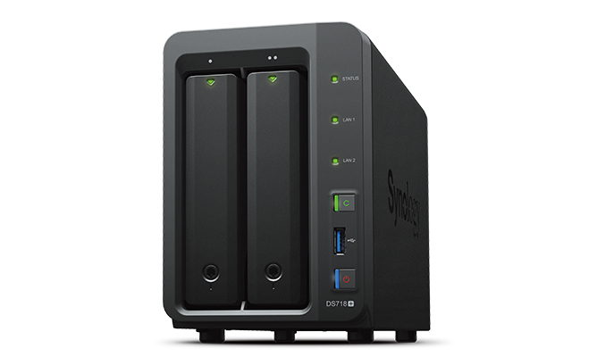 Synology DS718+ QC1,5GhzCPU/2Gb(upto6)/RAID0,1,10,5,6/up to 2hot plug HDDs SATA(3,5' or 2,5')(up to 7 with DX517)/3xUSB3.0/1eSATA/2GigEth/iSCSI/2xIPcam(up to 40)/1xPS/3YW