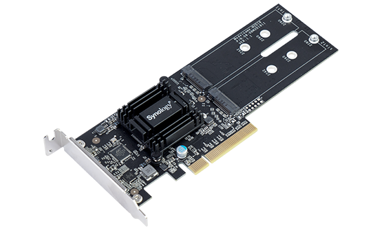 Synology M.2 SSD-Sata adapter, LP PCIe 2.0x8 (for DS1819+, DS2419+ , DS1517+, DS1817+, DS3018xs, FS1018, RS1219+, for all xs/xs+ models) up to 2xSSD M.2 SATA